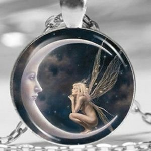 FAIRY NECKLACE looking at crescent moon various